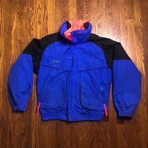 Vtg Columbia 3 in 1 Blue Black Pink Orange Coat M